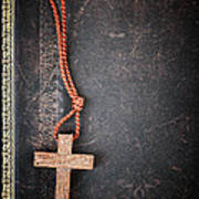 Christian Cross On Bible Poster by Elena Elisseeva