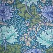 Chrysanthemums In Blue Poster by William Morris