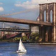 City - Ny - Sailing Under The Brooklyn Bridge Poster by Mike Savad
