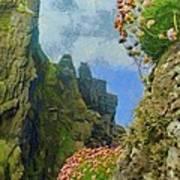 Cliffside Sea Thrift Poster by Jeff Kolker