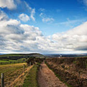 Countryside Landscape Path Leading Through Fields Towards Dramat Poster by Matthew Gibson