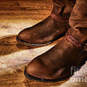 Cowboy Boots On Saloon Floor Poster by Olivier Le Queinec