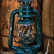 Cowboy Themed Wood Barrels And Lantern Poster by Paul Ward