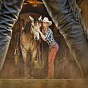 Cowgirl And Cowboy Poster by Susan Candelario