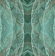 Crashing Waves Of Green 2 - Panorama - Abstract - Fractal Art Poster by Andee Design