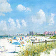 Crescent Beach On Siesta Key Poster by Shawn McLoughlin