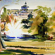 Crisp Water Fountain At The Baptist Home II Poster by Kip DeVore
