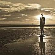 Crosby Beach Sepia Sunset Poster by Paul Madden
