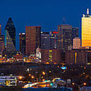 Dallas Skyline Panorama Poster by Inge Johnsson
