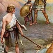 David And Goliath Poster by Arthur A Dixon