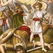 David Slaying Goliath Poster by English School