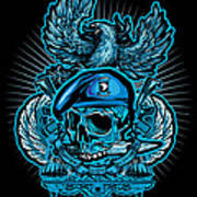 Dcla Skull Airborne All The Way Poster by David Cook Los Angeles