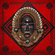 Dean Gle Mask By Dan People Of The Ivory Coast And Liberia On Red Leather Poster by Serge Averbukh
