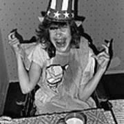 Debbie C. Celebrating July 4th Lincoln Gardens Tucson Arizona 1990 Poster by David Lee Guss