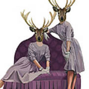 Deer Twins In Purple Poster by Kelly McLaughlan
