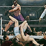 Dempsey V Firpo In New York City Poster by George Wesley Bellows