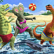 dinosaur fun playing Volleyball on a beach vacation Poster by Martin Davey
