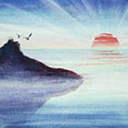 Distant Shoreline Sunrise Watercolor Painting Poster by Michelle Wiarda