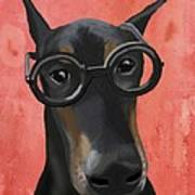 Doberman With Glasses Poster by Loopylolly