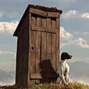 Dog Guarding An Outhouse Poster by Daniel Eskridge