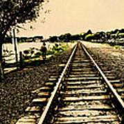 Dog Walk Along The Wayzata Train Tracks Poster by Susan Stone