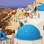Domes Of Santorini Poster by Brian Jannsen