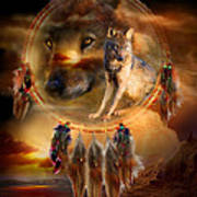 Dream Catcher - Wolfland Poster by Carol Cavalaris