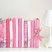 Dreamy Romantic Books Collection - Shabby Chic Cottage Chic Pastel Pink Books Photograph Poster by Kathy Fornal