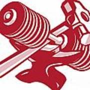 Dumbbell Anvil And Sledgehammer Retro Poster by Aloysius Patrimonio