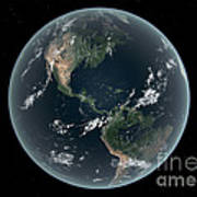 Earths Western Hemisphere With Rise Poster by Walter Myers