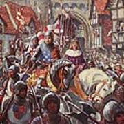 Edward V Rides Into London With Duke Poster by Charles John de Lacy