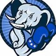 Elephant With Boxing Gloves Democrat Mascot Poster by Aloysius Patrimonio