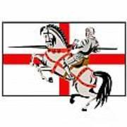English Knight Lance Horse England Flag Side Retro Poster by Aloysius Patrimonio