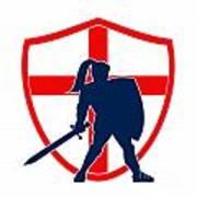 English Knight Silhouette England Flag Retro Poster by Aloysius Patrimonio