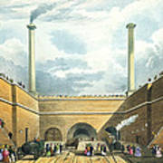 Entrance Of The Railway At Edge Hill Poster by Thomas Talbot Bury