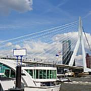 Erasmus Bridge In Rotterdam City Downtown Poster by Artur Bogacki