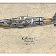 Erich Hartmann Messerschmitt Bf-109 - Map Background Poster by Craig Tinder