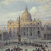 Exterior Of St Peters In Rome From The Piazza Poster by Louis Haghe