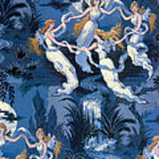 Fairies In The Moonlight French Textile Poster by Photo Researchers