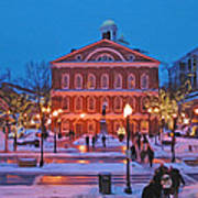 Faneuil Hall Holiday- Boston Poster by Joann Vitali