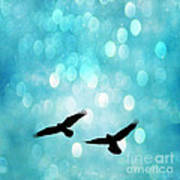 Fantasy Surreal Ravens Flying - Aquamarine Blue Bokeh Sparkling Lights Poster by Kathy Fornal