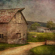 Farm - Barn - The Old Gray Barn  Poster by Mike Savad