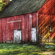 Farm - Barn - The Old Red Barn Poster by Mike Savad