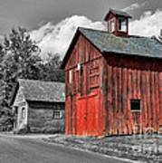 Farm - Barn - Weathered Red Barn Poster by Paul Ward