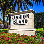 Fashion Island Sign In Newport Beach California Poster by Paul Velgos