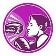 Female Boxer Punch Retro Poster by Aloysius Patrimonio