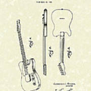 Fender Guitar 1951 Patent Art Poster by Prior Art Design