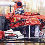 Ferrari 150 Italia Fernando Alonso F1 2011  Poster by Yuriy  Shevchuk
