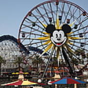 Ferris Wheel And Roller Coaster - Paradise Pier - Disney California Adventure - Anaheim California - Poster by Wingsdomain Art and Photography