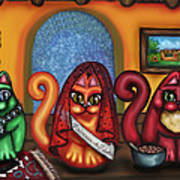 Fiesta Cats Or Gatos De Santa Fe Poster by Victoria De Almeida